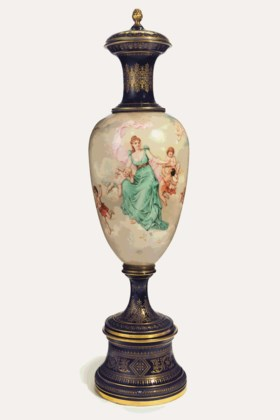 A VERY LARGE VIENNA STYLE PORCELAIN COBALT-BLUE GROUND VASE, COVER & STAND
