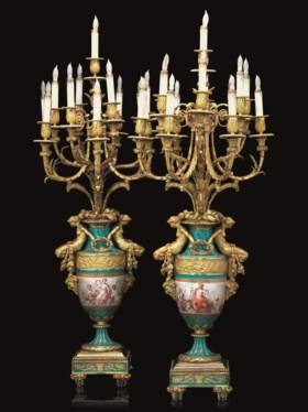 A LARGE PAIR OF FRENCH ORMOLU-MOUNTED SEVRES STYLE PORCELAIN TURQUOISE-GROUND TH