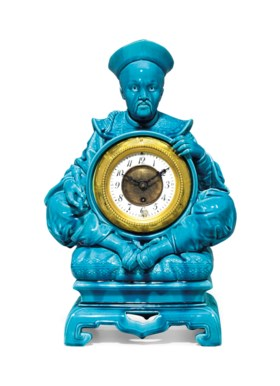 A THEODORE DECK STYLE FAIENCE CHINOISERIE TURQUOISE-GROUND FIGURAL CLOCK