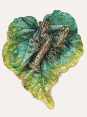A MASSIVE PALISSY STYLE TROMPE L'OEIL LEAF AND LOBSTER TABLEAU