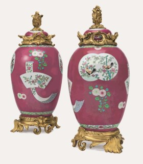 A PAIR OF FRENCH ORMOLU-MOUNTED CHINESE EXPORT STYLE PORCELAIN VASES AND COVERS