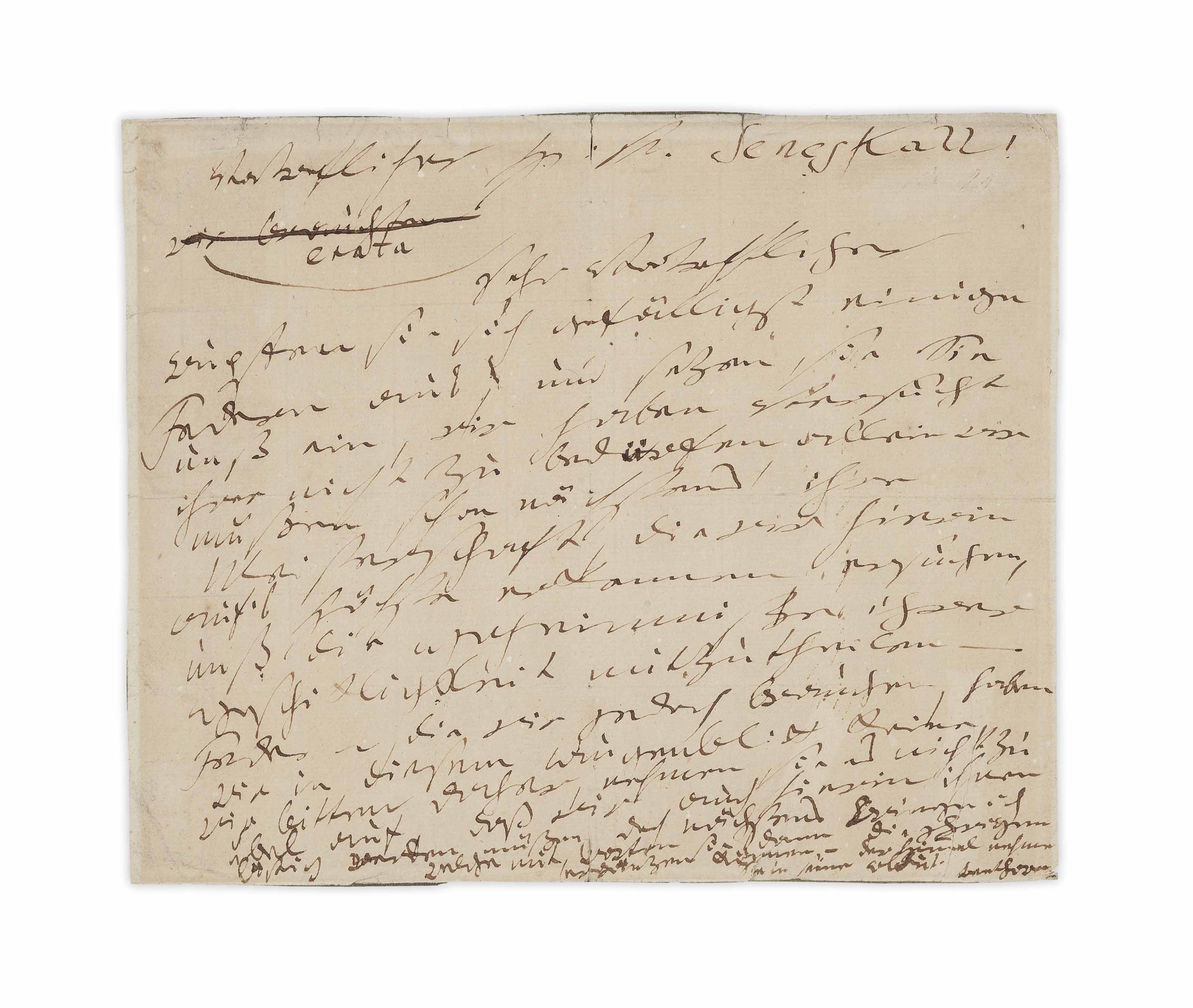 BEETHOVEN, Ludwig van (1770-1827). Autograph letter signed ('Beethoven') to [Count Nikolaus Zmeskall von Domanovecz: 'H[err] von Seneskall!') , n.p. [Vienna], n.d. [?December 1816].
