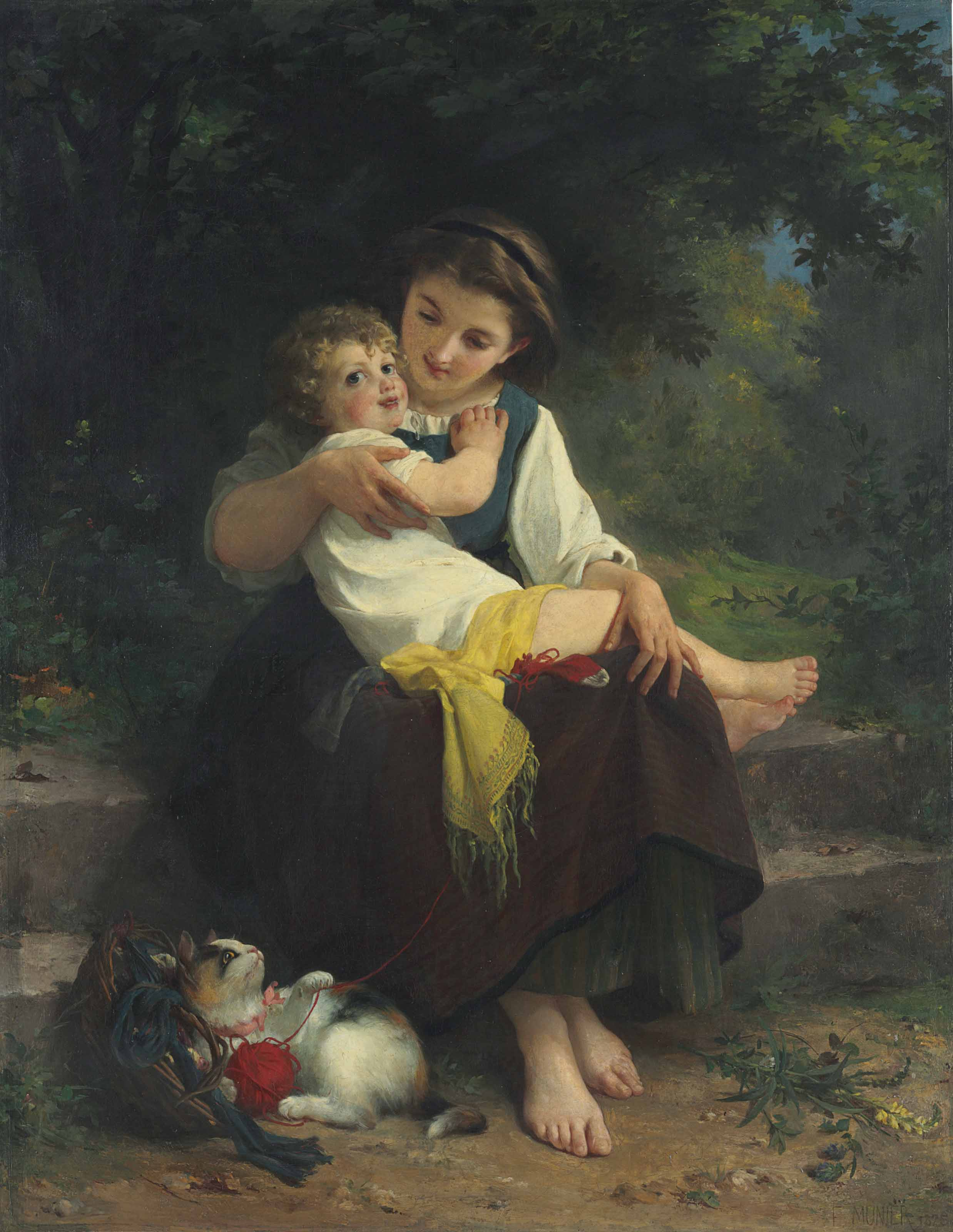 Mother and Child with a Kitten