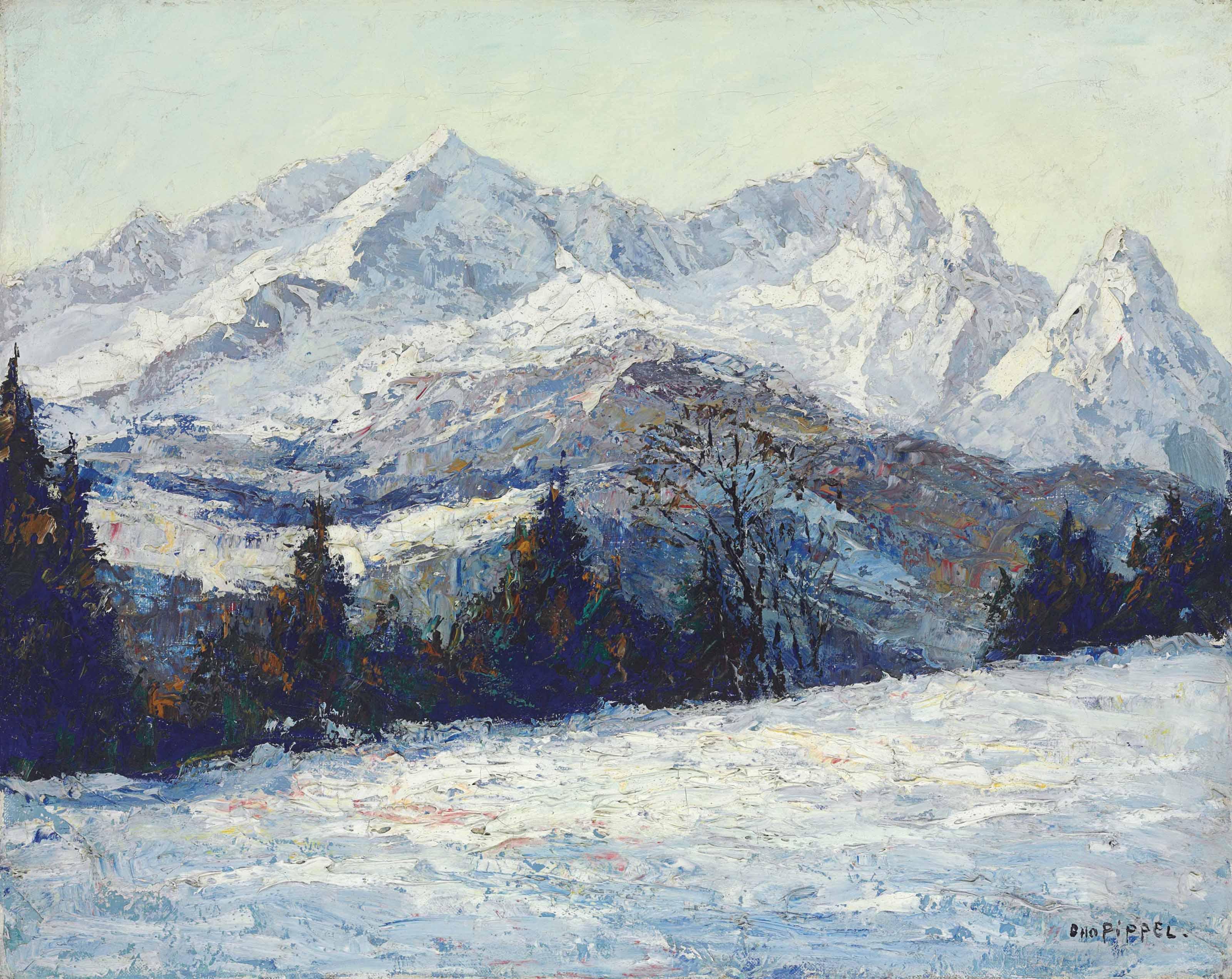 Wintermorgen im Wettersteingebirge, Zugspitze