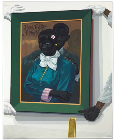 Kerry James Marshall (b. 1955), Still Life with Wedding Portrait, painted in 2015. 59½ x 47½  in (151.1 x 120.6  cm). Sold for $5,037,500 on 15 November 2017  at Christie's in New York