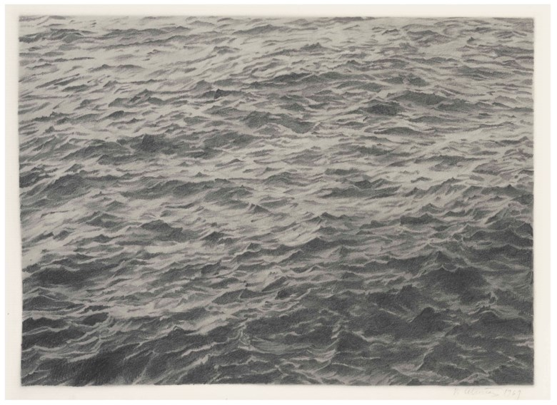 Vija Celmins (b. 1938), Lead Sea #2, drawn in 1969. 14½ x 19¾  in (36.8 x 50.1  cm). Sold for $4,212,500 on 15 November 2017  at Christie's in New York