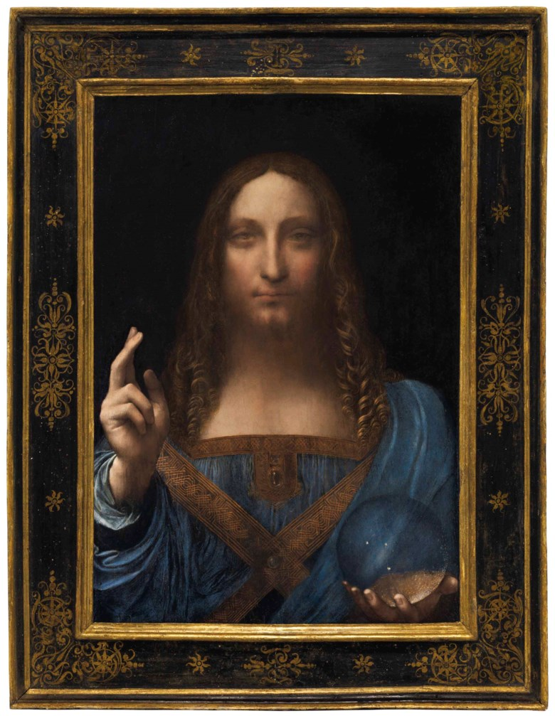 Leonardo da Vinci (1452-1519), Salvator Mundi, painted circa 1500. 25⅞ x 18  in (65.7 x 45.7  cm). Sold for $450,312,500 on 15 November 2017  at Christie's in New York