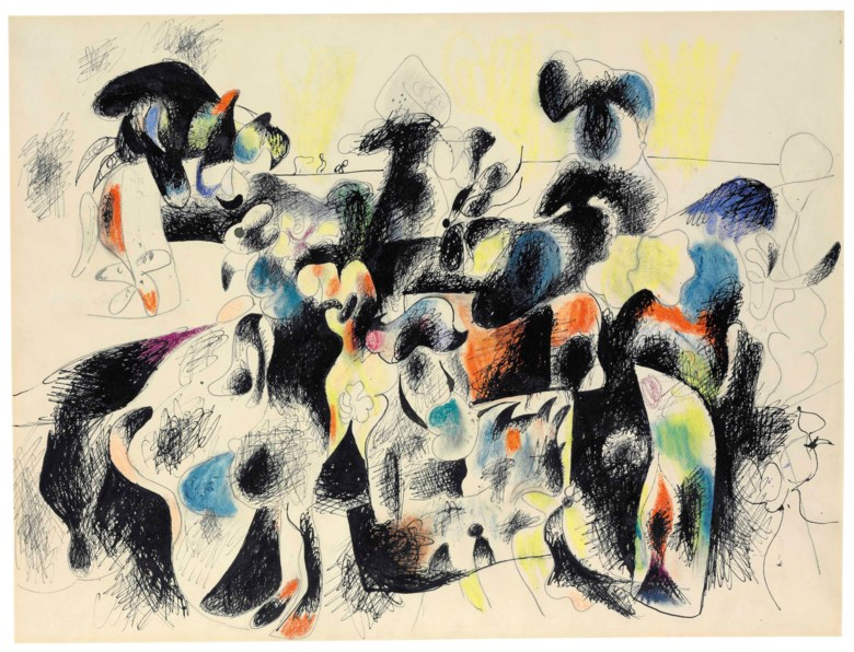 Arshile Gorky (1904-1948), Composition I, executed in 1943. 19 x 24⅞  in (48.2 x 63.1  cm). Estimate $2,000,000-3,000,000. This lot is offered in Post-War & Contemporary Art Evening Sale on 15 November 2017  at Christie's in New York