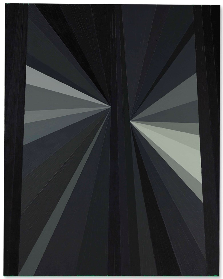 Mark Grotjahn (b. 1968), Untitled (Black Butterfly Grey), painted in 2003. 53⅛ x 42  in (134.9 x 106.6  cm). Estimate $1,800,000-2,500,000. This lot is offered in Post-War & Contemporary Art Evening Sale on 15 November 2017  at Christie's in New York