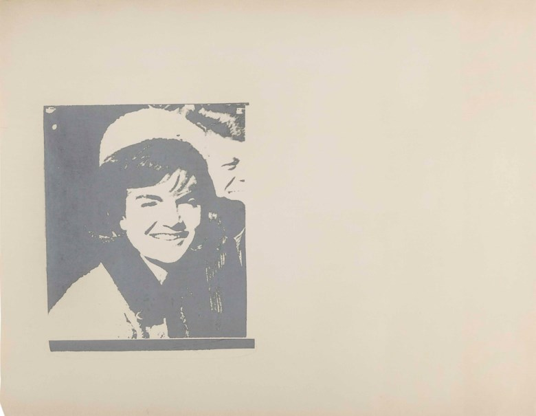Andy Warhol (1928-1987), Jacqueline Kennedy I (Jackie I), executed circa 1966. This work is a unique unpublished trial proof. 35⅛ x 44⅞  in (89.2 x 113.9  cm). Estimate $100,000-150,000. This lot is offered in the Post-War & Contemporary Art Morning Session on 16 November 2017  at Christie's in New York