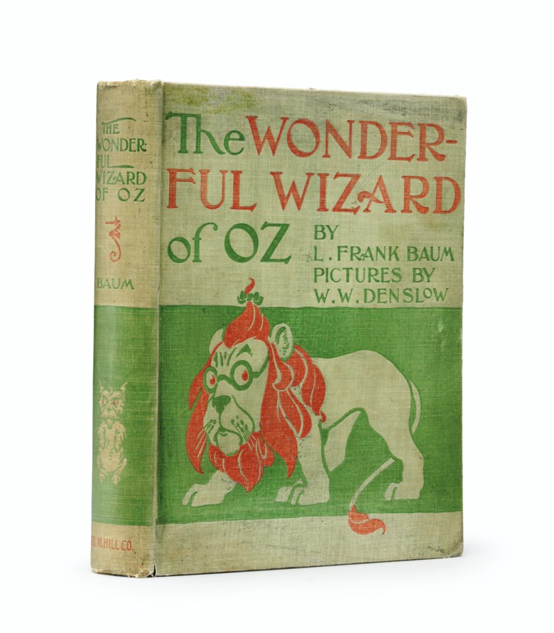 Baum, L. Frank (1856-1919). The Wonderful Wizard of Oz. Chicago Geo. M. Hill Co., 1900. Letter, photograph and book displayed together in a shadow-box  frame. Estimate $30,000-50,000. This lot is offered in Fine Printed Books and Manuscripts Including Americana on 5 December 2017  at Christie's in New York