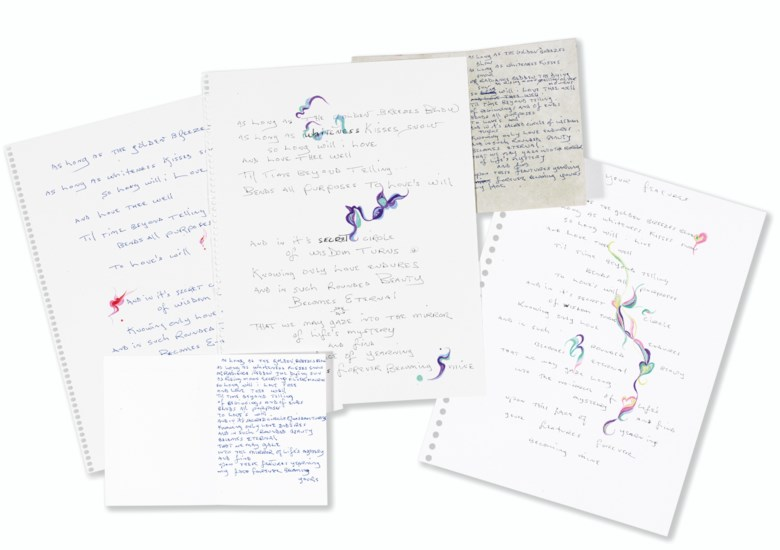 Dylan, Bob (b. 1941), and Rogerson, Margie (b. 1947). Five autograph manuscript versions of the poem 'Your Features' in Dylan's hand, three of these collaborative works illuminated with original drawings by Rogerson, circa 2001. Estimate $8,000-12,000. This lot is offered in Fine Printed Books and Manuscripts Including Americana on 5 December 2017  at Christie's in New York