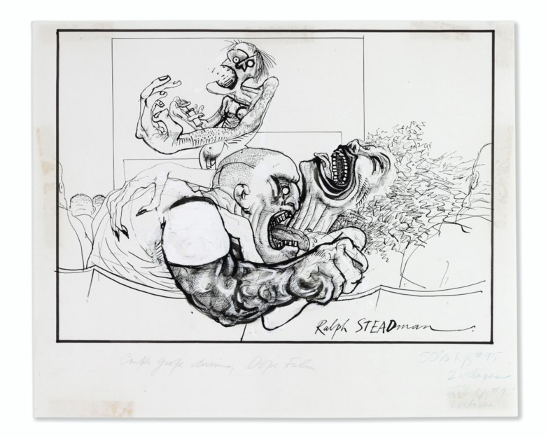 Ralph Steadman (b. 1936), The Audience, 1971. Pen and ink drawing (490 x 250 mm) on strong paper (545 x 443 mm). Estimate $30,000-50,000. This lot is offered in Fine Printed Books and Manuscripts including Americana on 5 December at Christie's in New York