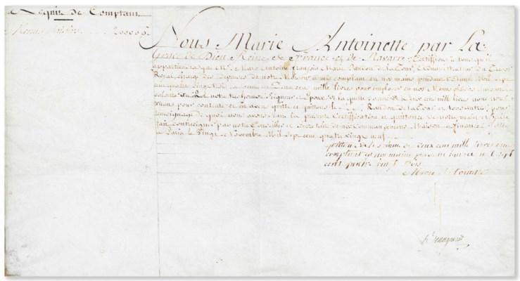 "ANTOINETTE, Marie (1755-1793). Autograph document signed (""Marie..."