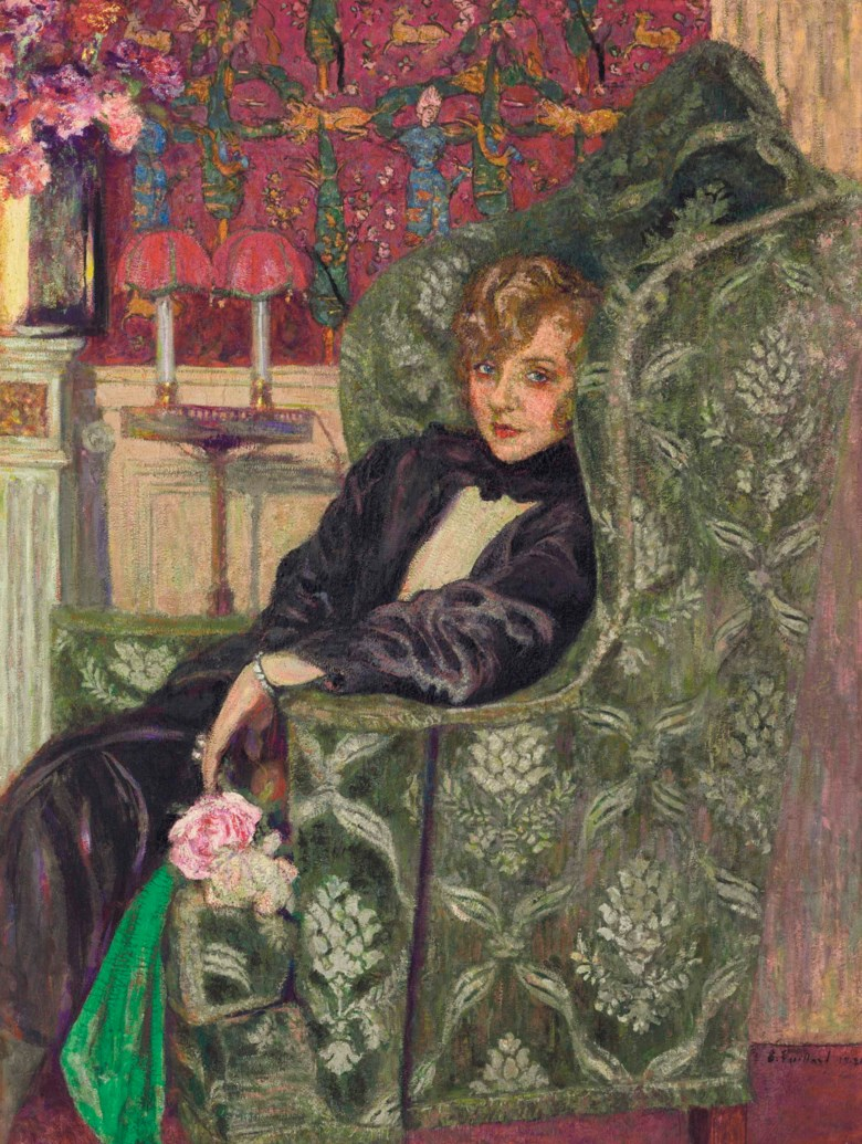 Edouard Vuillard (1868-1940), Yvonne Printemps au fauteuil, 1919-21. 51⅛ x 38⅛  in (129.9 x 96.9  cm). Estimate $900,000-1,200,000. This lot is offered in the Impressionist & Modern Art Evening Sale on 13 November 2017  at Christie's in New York