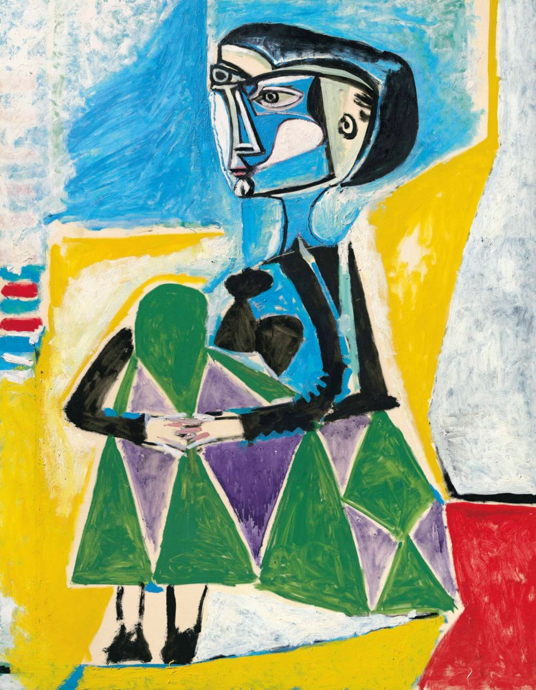 Pablo Picasso (1881-1973), Femme accroupie (Jacqueline), painted on 8 October 1954. 57½ x 44⅞  in (146 x 114  cm). Estimate $20,000,000-30,000,000. This lot is offered in the Impressionist & Modern Art Evening Sale on 13 November 2017  at Christie's in New York