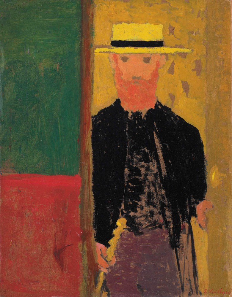 Edouard Vuillard (1868-1940), Autoportrait à la canne et au canotier, circa 1891-92. 14⅛ x 11⅛  in (36 x 28.3  cm). Sold for $5,262,500 on 13 November 2017  at Christie's in New York