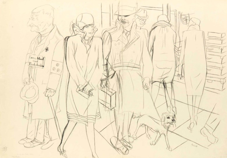George Grosz (1893-1959), Die von der liebe Leben, circa 1926. 23⅝ x 34½  in (60 x 87.4  cm). Estimate $30,000-50,000. This lot is offered in the Impressionist and Modern Art Works on Paper Sale on 14 November 2017  at Christie's in New York