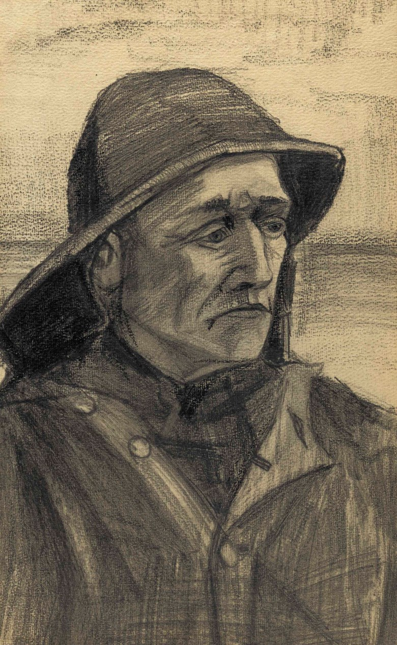 Vincent Van Gogh (1853-1890), Hoofd van een visser, driekwart naar rechts gekeerd, drawn in The Hague in January-February 1883. 17⅜ x 11  in (44 x 27.5  cm). Sold for $672,500 on 14 November 2017  at Christie's in New York