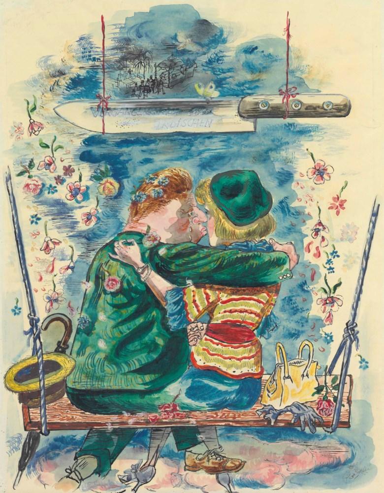 George Grosz (1893-1959), Liebespaar, Der Weg allen Fleisches, 1931. 23⅝ x 18⅛  in (59.2 x 46  cm). Estimate $60,000-80,000. This lot is offered in theImpressionist and Modern Art Works on Paper Sale on 14 November 2017  at Christie's in New York