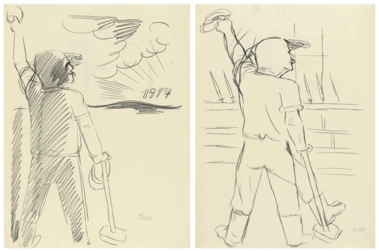 George Grosz (1893-1959), Revolution 1917. Each 23⅝ x 18⅛  in (60 x 46  cm). Estimate $15,000-20,000. This lot is offered in theImpressionist and Modern Art Works on Paper Sale on 14 November at Christie's in New York