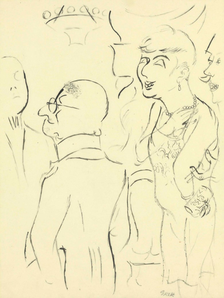 George Grosz (1893-1959), Society, circa 1926. 17¾ x 14⅛  in (45.4 x 35.6  cm). Estimate $10,000-15,000. This lot is offered in the Impressionist and Modern Art Works on Paper Sale on 14 November 2017  at Christie's in New York