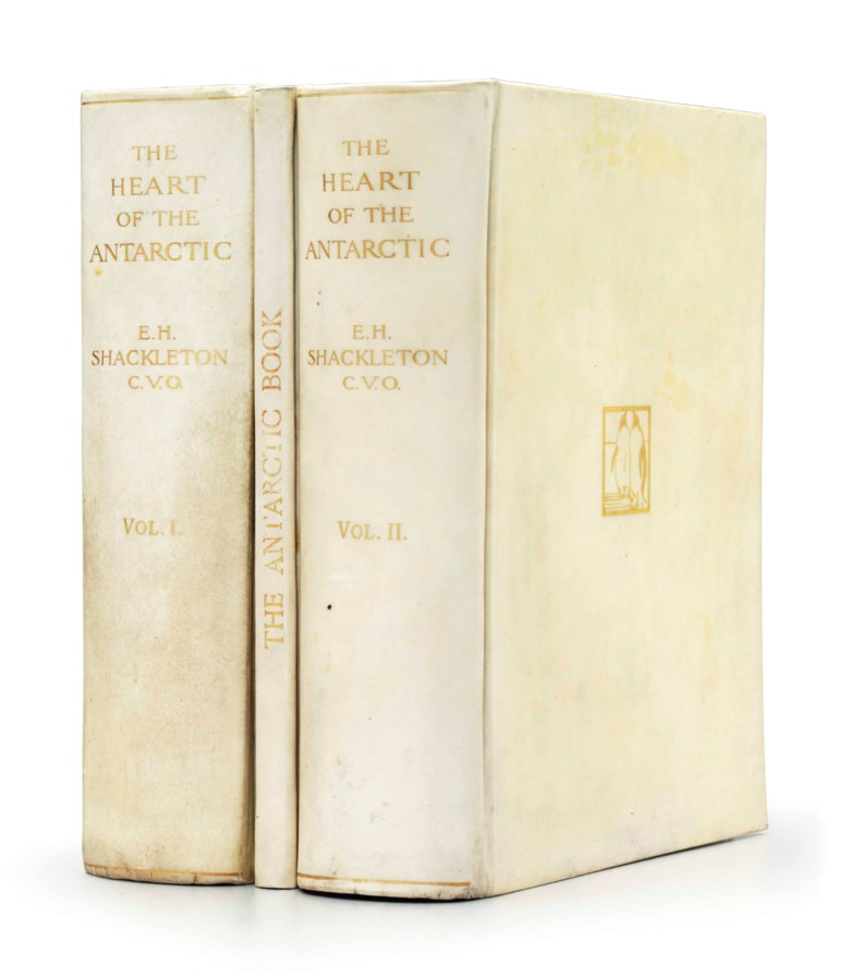 Ernest H. Shackleton (1874-1922), The Heart of the Antarctic. Being the Story of the British Antarctic Expedition 1907-1909, 1909. The deluxe first edition, signed by all members of the shore party. Estimate $12,000-18,000. This lot is offered in Russian America & Polar Exploration Highlights from the Martin Greene Library on 7 December 2017  at Christie's in New York