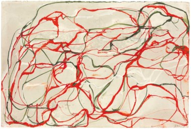 Brice Marden (b. 1938), Untitled Red and Green Drawing 2, 1998. 20¼ x 30  in (51.4 x 76.2  cm). Estimate $400,000-600,000. This lot is offered in The Collection of Paul F. Walter on 26-27 September 2017  at Christie's in New York