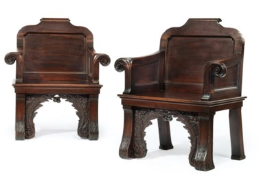 A pair of George II walnut hall armchairs, after the design by William Kent, circa 1735-40. Estimate $60,000-100,000. This lot is offered in The Collection of Paul F. Walter on 26-27 September 2017  at Christie's in New York