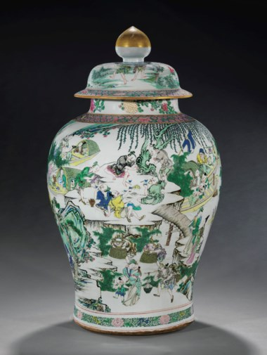 A massive and superbly-decorated famille rose baluster jar and cover, Yongzheng period (1723-35). 31⅞ in (81 cm) high. Estimate $80,000-120,000. This lot is offered in Marchant Nine Decades in Chinese Art, 14 September 2017 at Christies New York