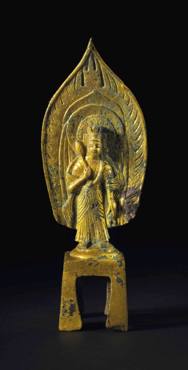 A dated gilt-bronze figure of Guanyin. Northern Wei dynasty (AD 386-534). 7 in (17.8 cm) high. Estimate $60,000-80,000. This lot is offered in Treasures of the Noble Path Early Buddhist Art from Japanese Collections on 14 September 2017 at Christie's in New York