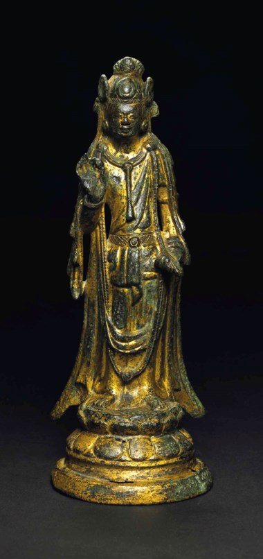 A gilt-bronze standing figure of a bodhisattva. Sui dynasty (AD 581-618). 7¾ in (19.8 cm) high. Estimate $15,000-18,000. This lot is offered in Treasures of the Noble Path Early Buddhist Art from Japanese Collections on 14 September 2017 at Christie's in New York