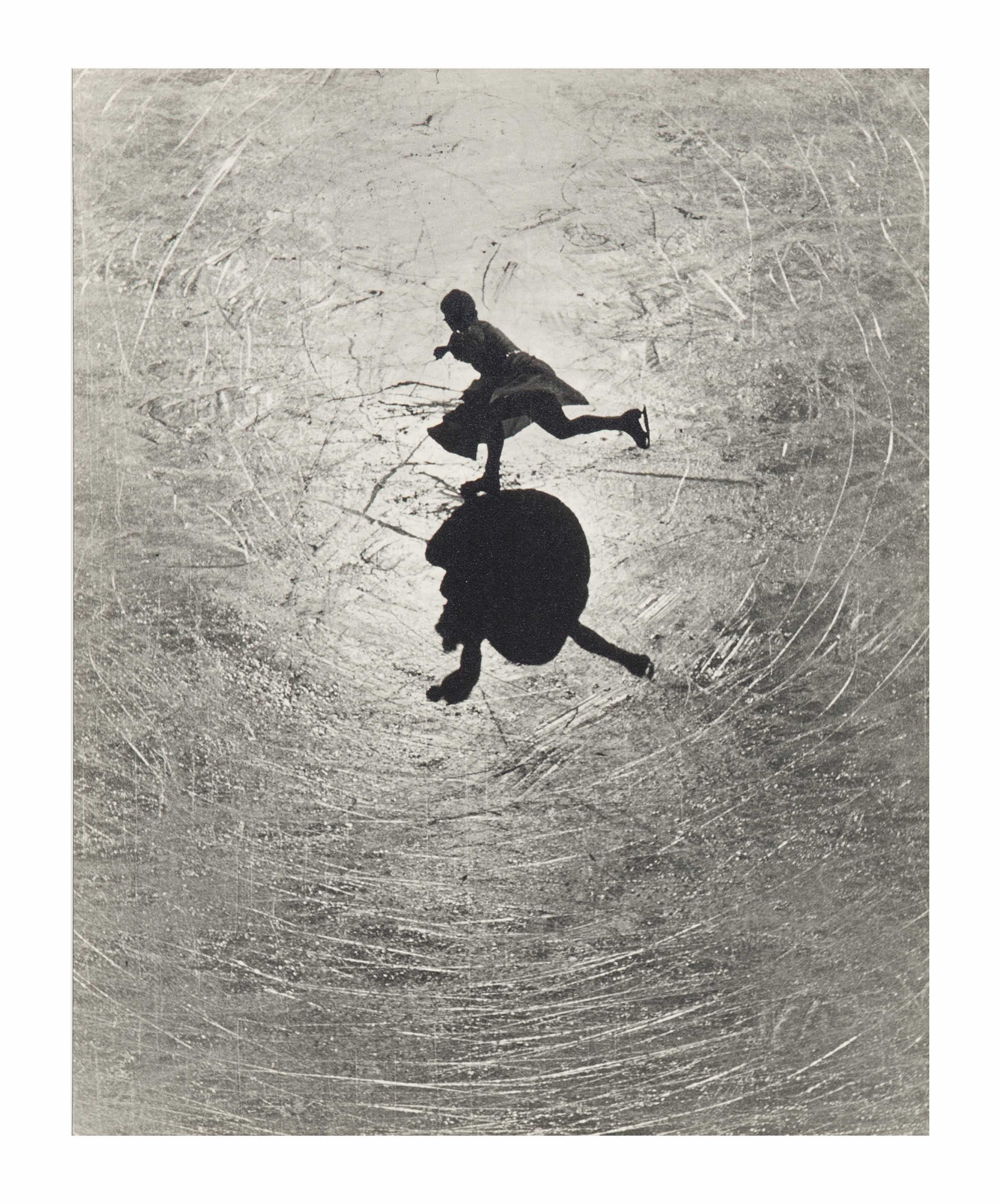 Untitled (Sunlight silhouetting a skating figure), 1930s