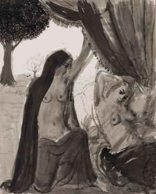 Paul delvaux 1897 1994 le rideau tude pour la mer for Paul delvaux le miroir
