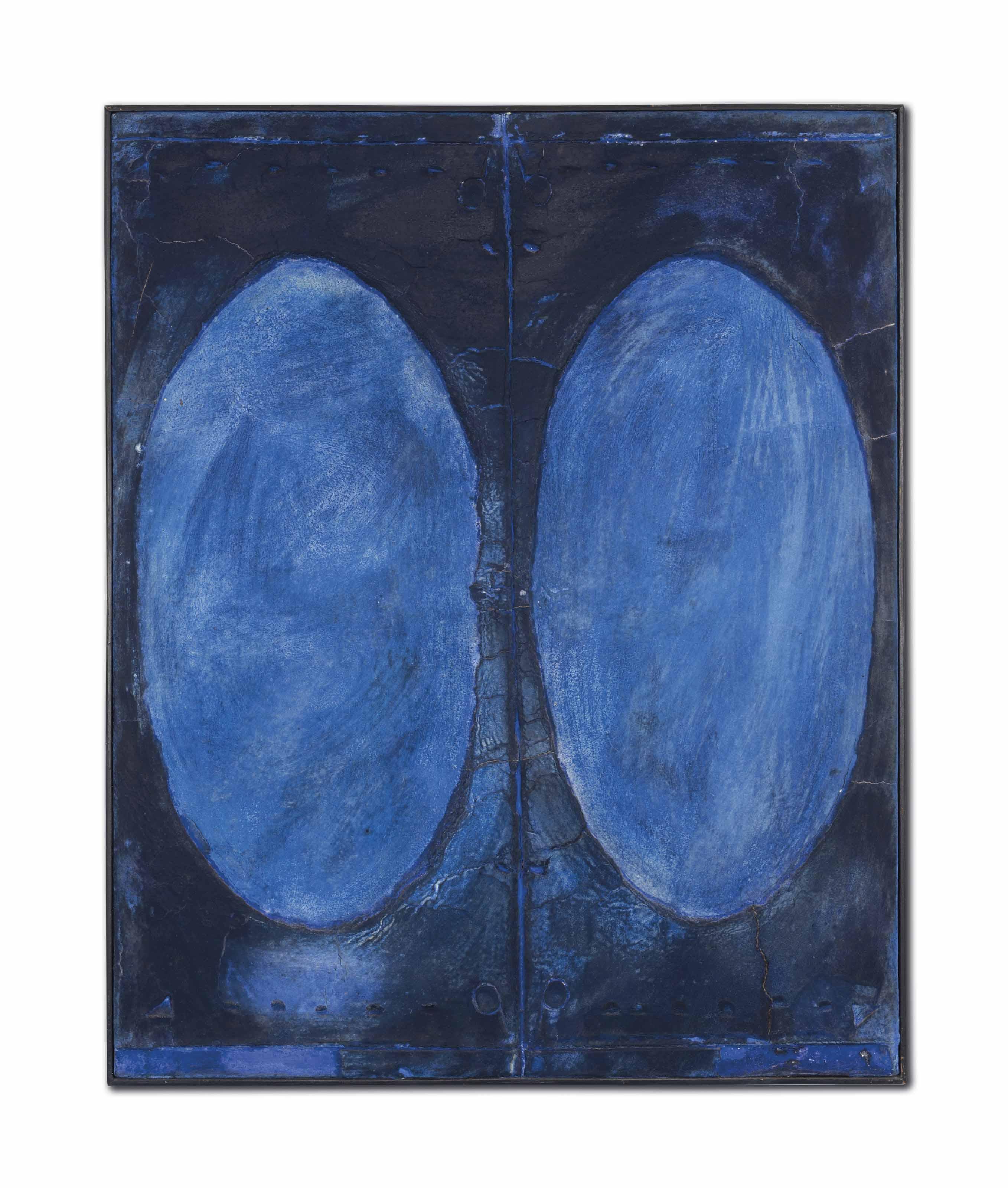 Bleu au double ovale