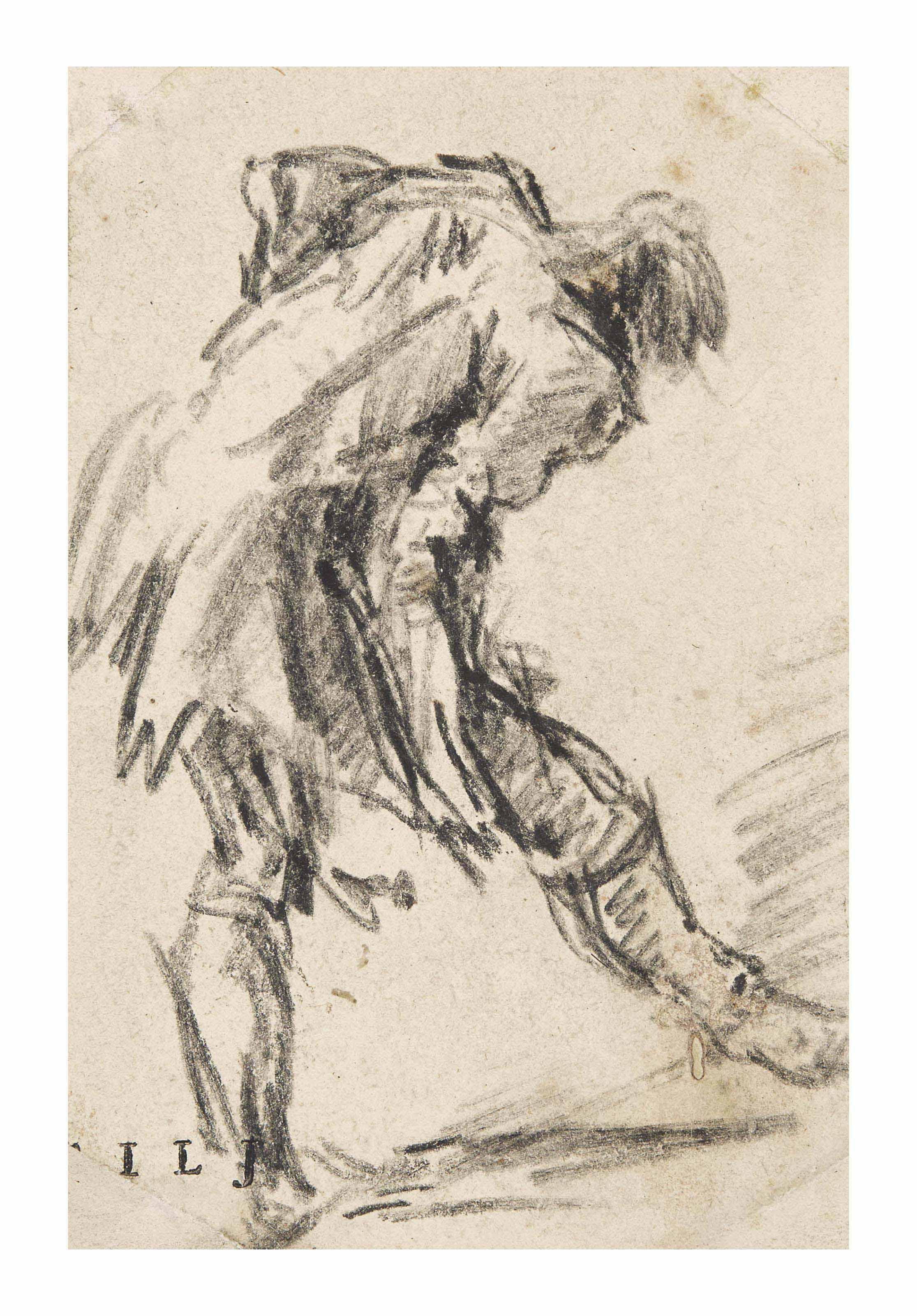 Homme penché en avant esquissant un pas (recto); Fragment d'élements architecturaux extrait de 'De Romanorum magnificentia et architectura' (verso)
