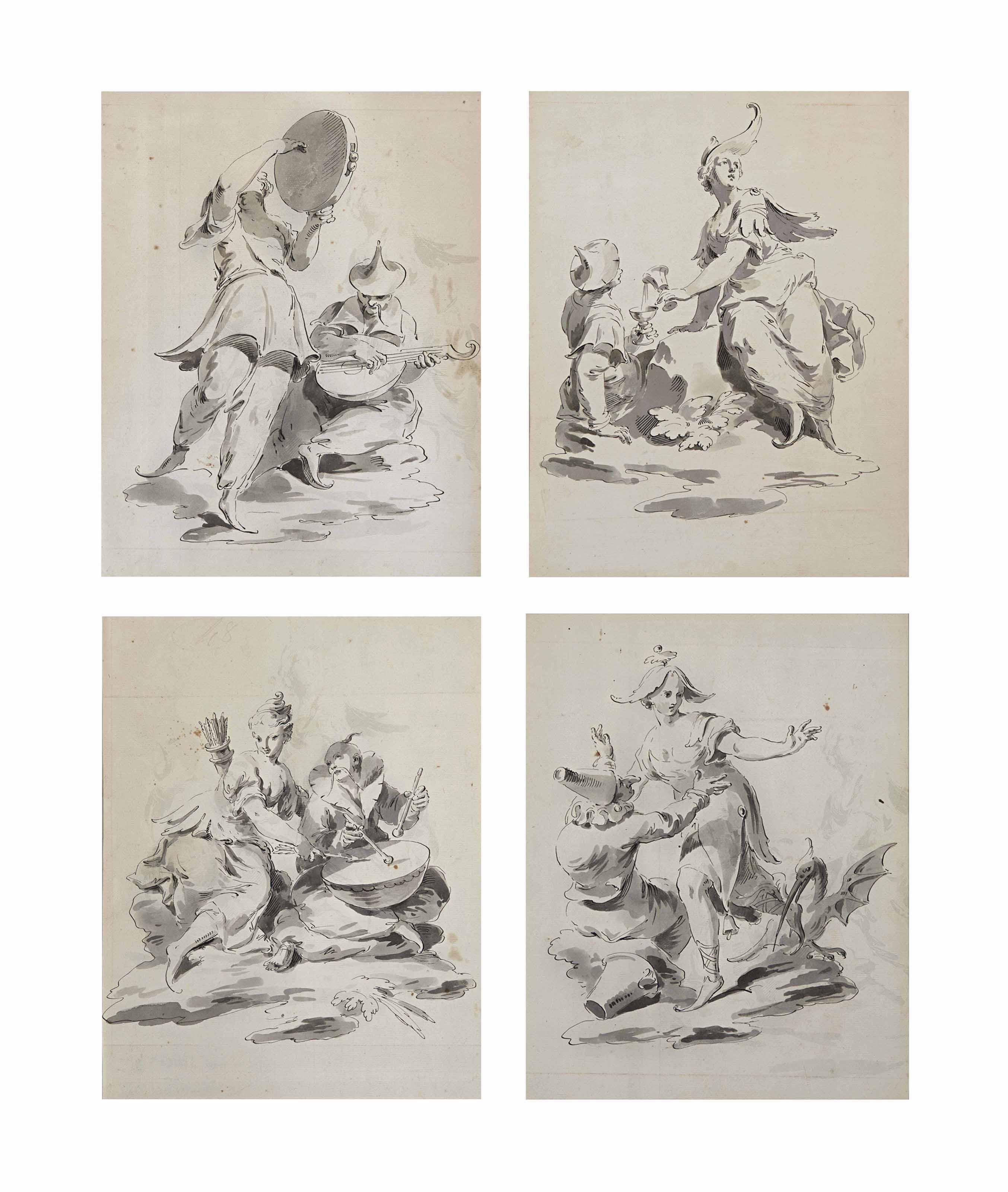 Quatre couples de figures de fantaisies
