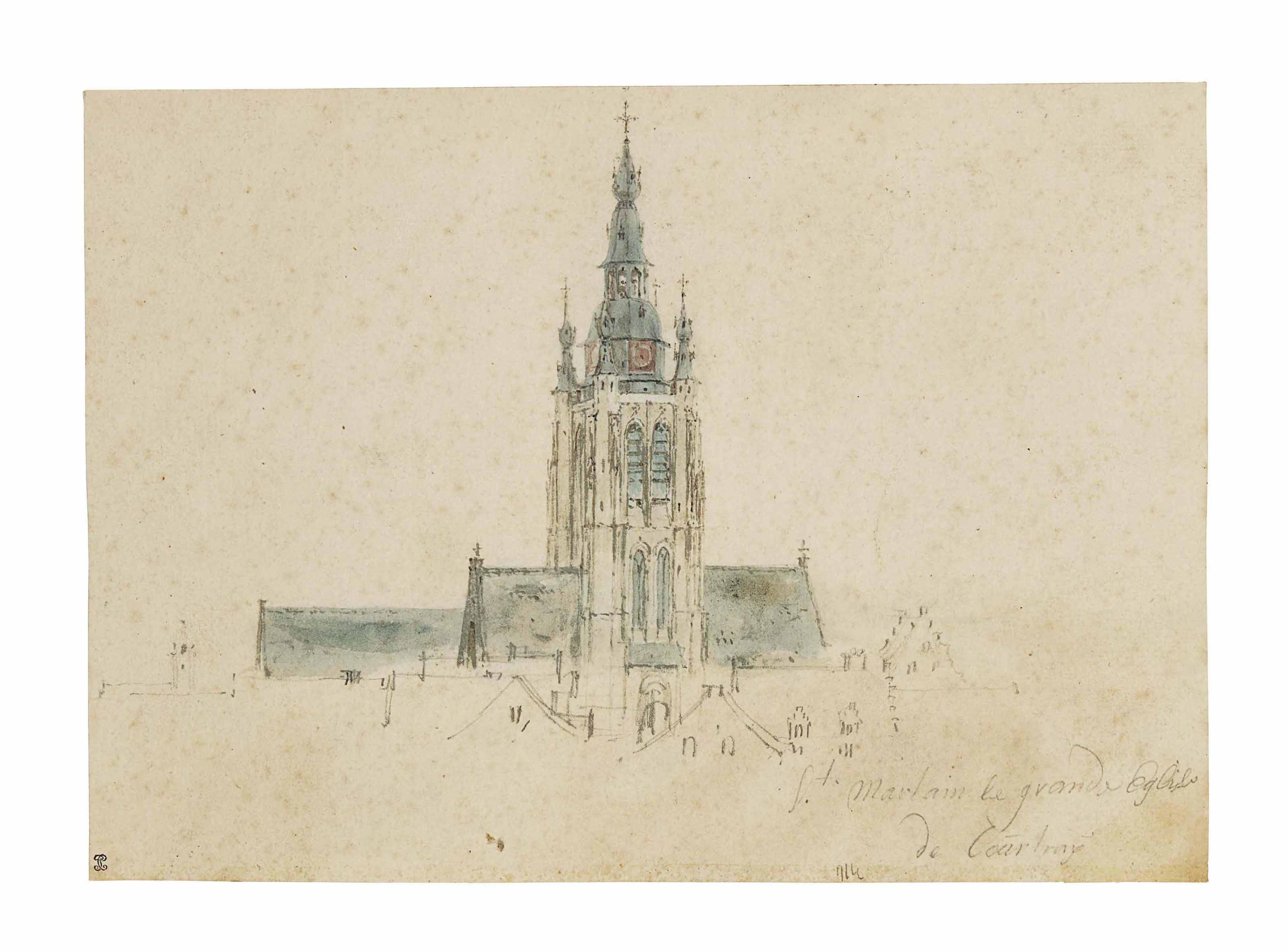 Vue de la tour-clocher et de la toiture de l'église Saint-Martin à Courtrai