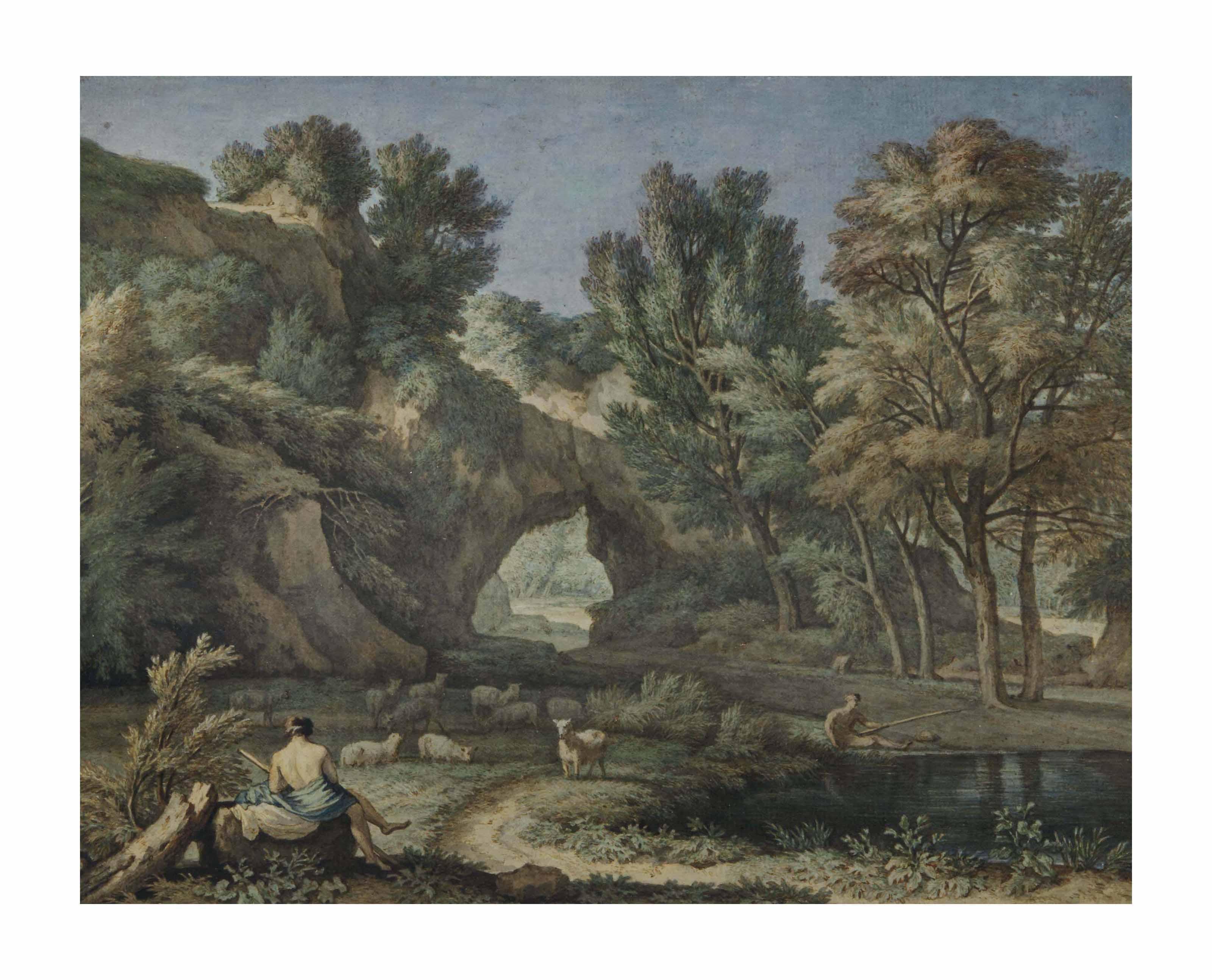 Paysage arcadien avec un berger au repos et un pêcheur près d'un étang, d'après Gaspard Dughet
