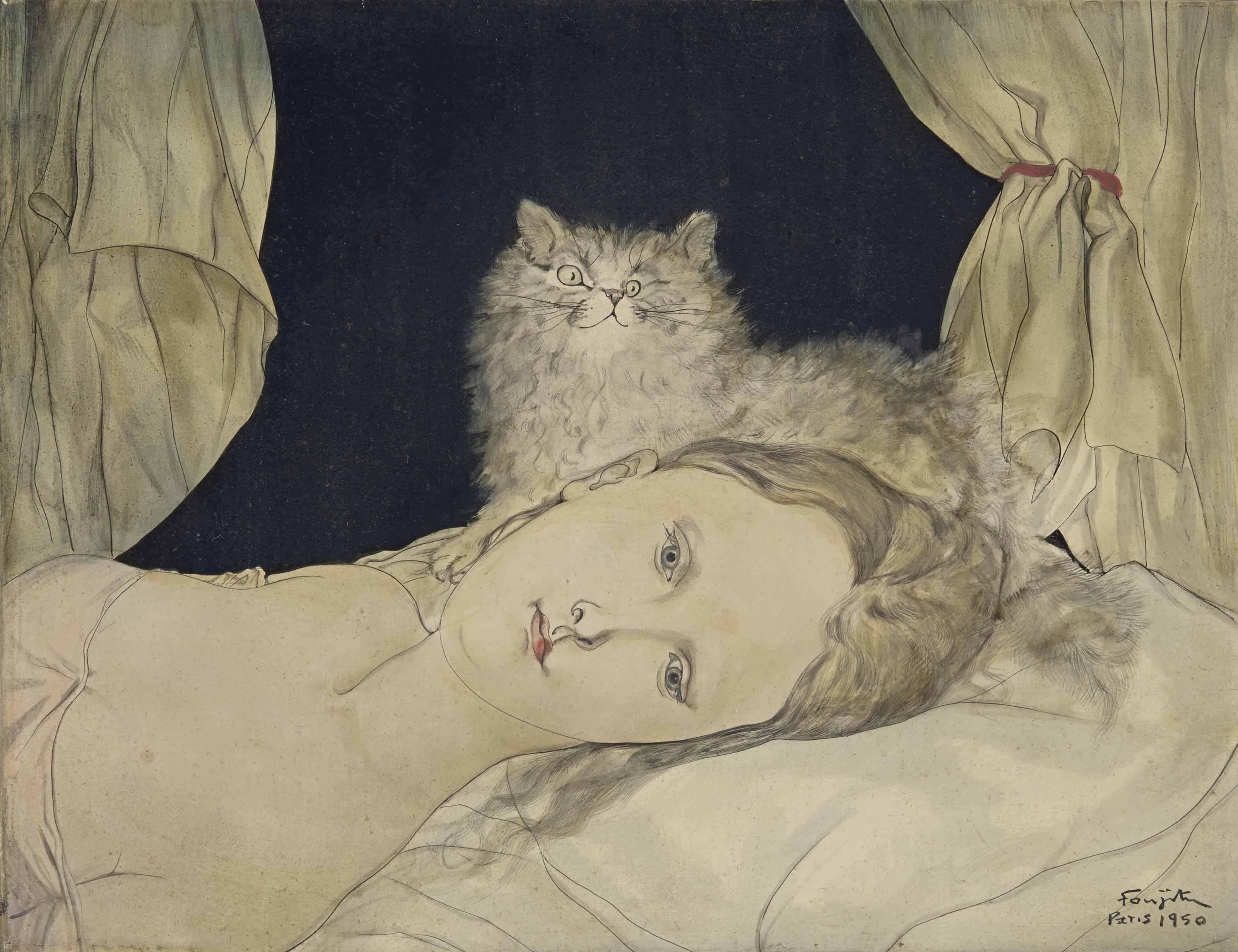 Buste de femme allongée au chat