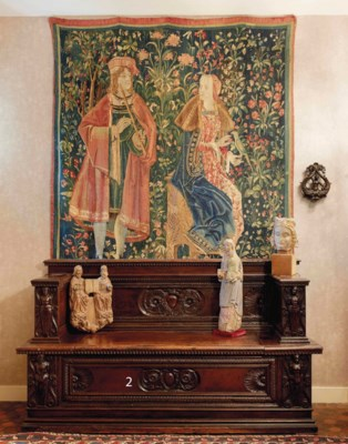 banc formant coffre d 39 epoque renaissance xvie siecle. Black Bedroom Furniture Sets. Home Design Ideas