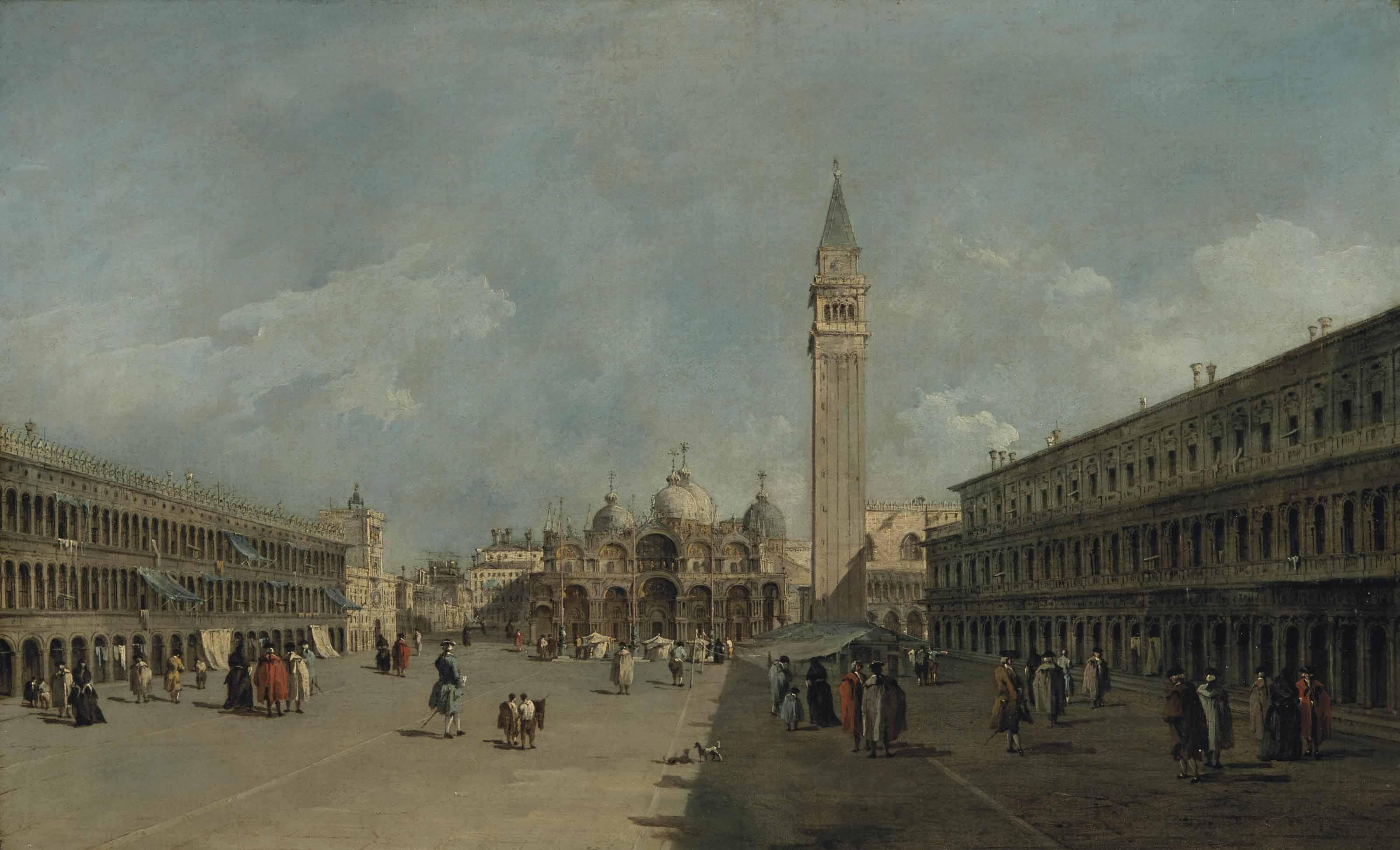 La place Saint-Marc, à Venise, avec la basilique et le campanile