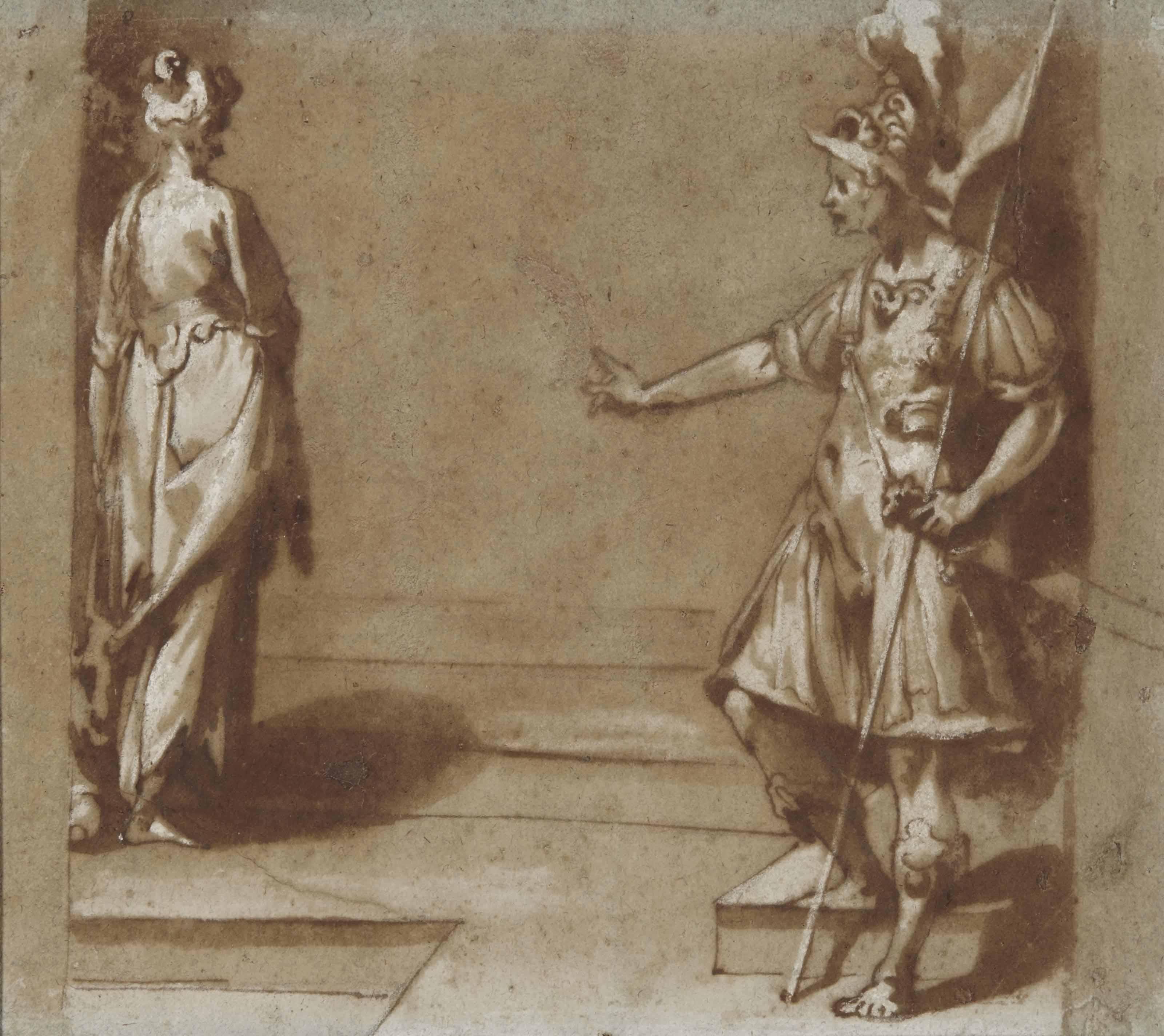 Soldat montrant du doigt une femme