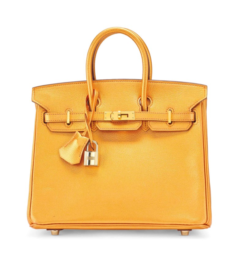 A rare, metallic bronze chèvre leather Birkin 25 with gold hardware, Hermès, 2005.  25 x  19 x 14  cm. Estimate €8,000-10,000. This lot is offered in Sacs & Accessoires on 12 December 2017  at Christie's in Paris