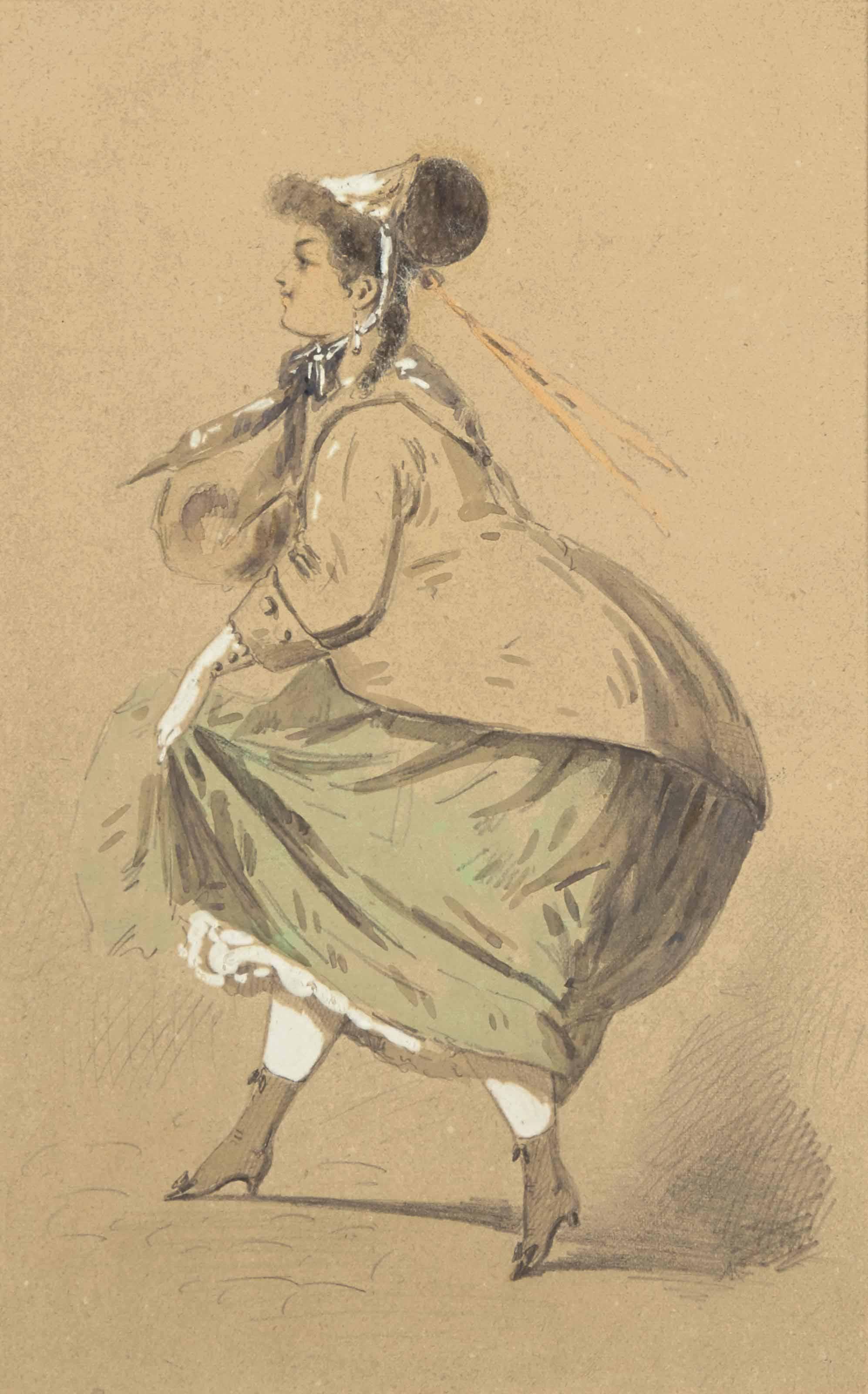 Femme caricaturée, sa jupe gonflée par le vent