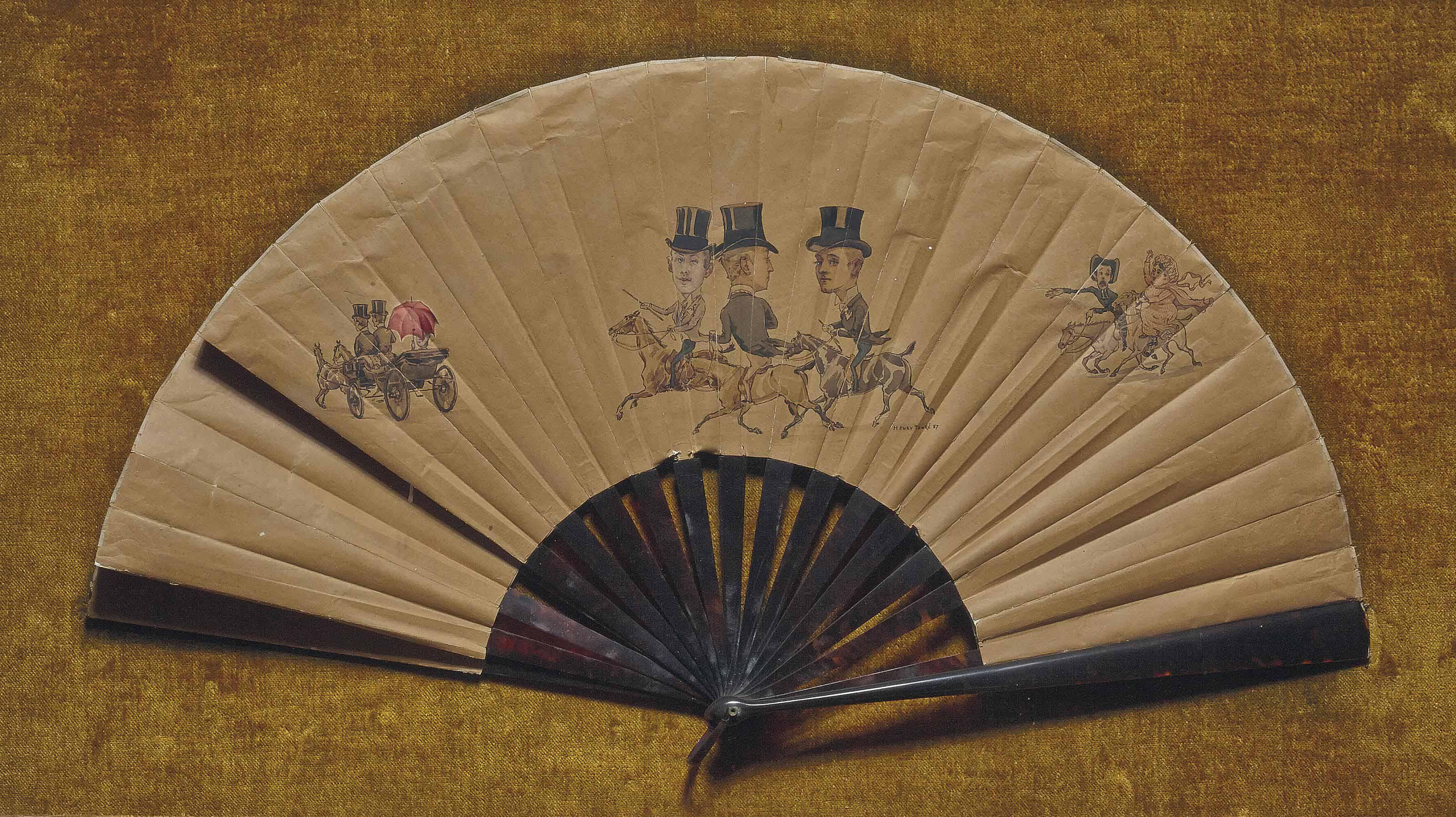 Eventail représentant les trois frères Castellane caricaturés (Boni, Stanislas et Jean) voulant suivre une courtisane dans une calèche, madame Laure Hayman, eux-même suivis par leur gouvernante et leur abbé instituteur