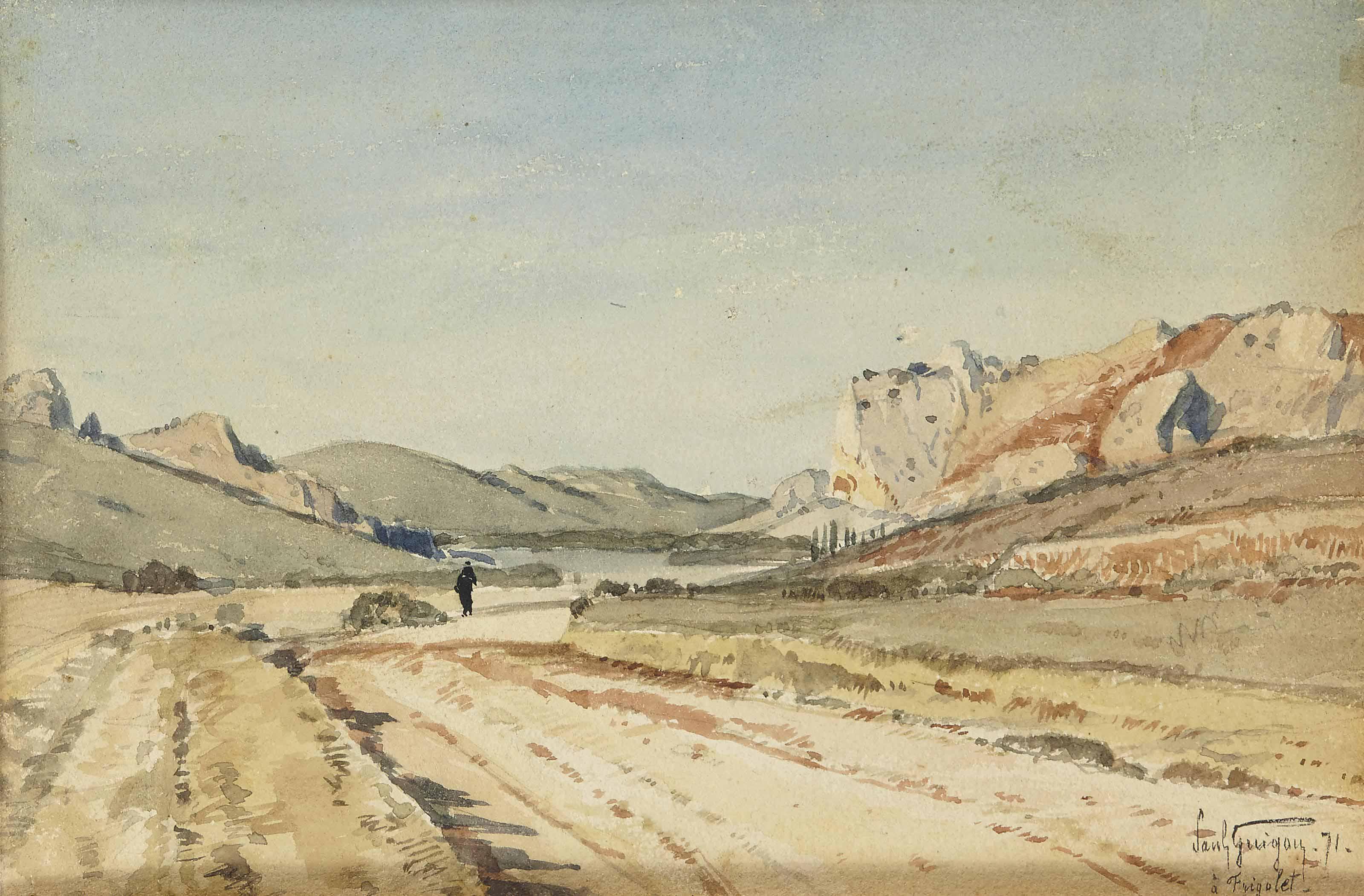 Paysage rocheux à Frigolet près de Tarascon; personnnage sur un chemin