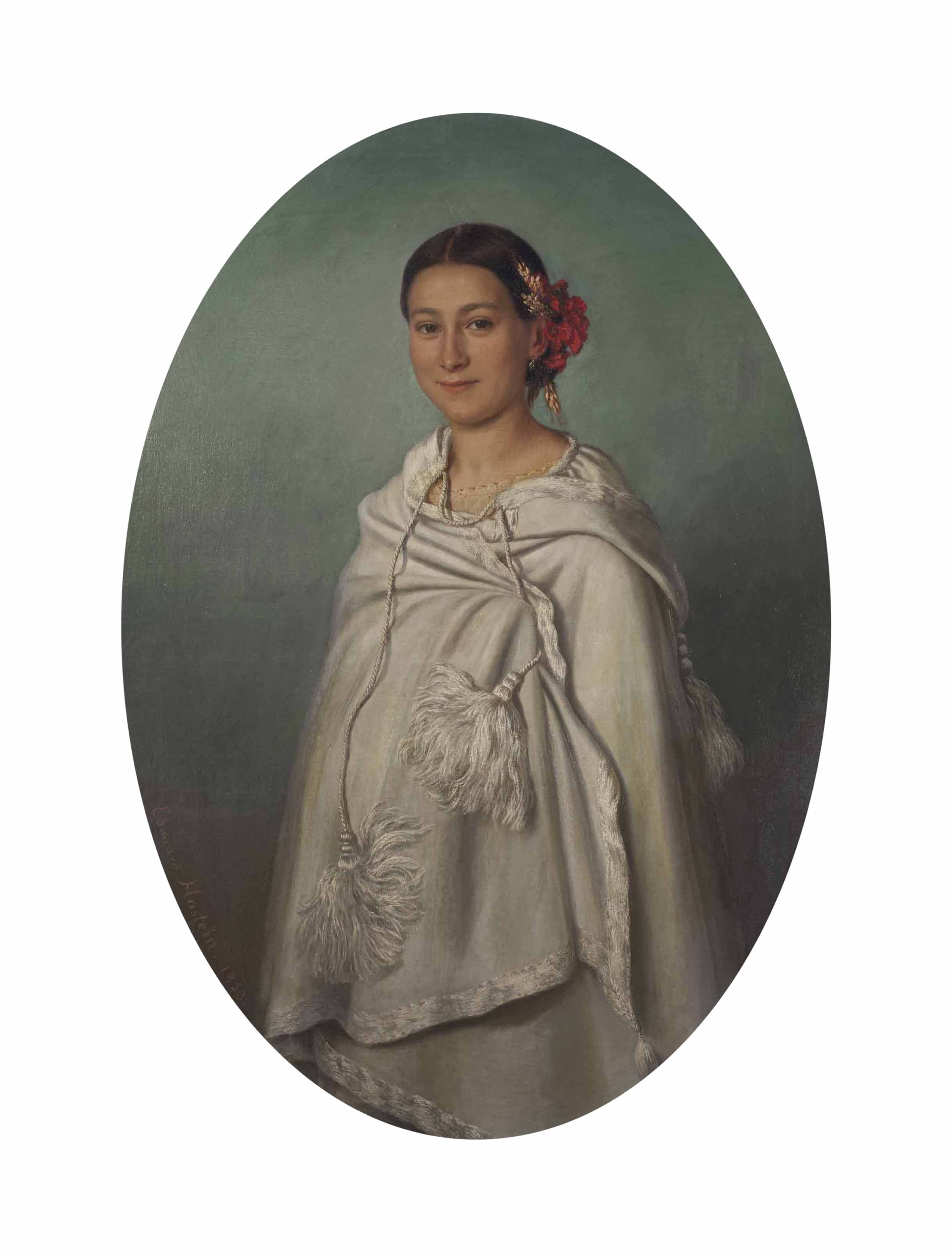 Jeune femme au châle blanc