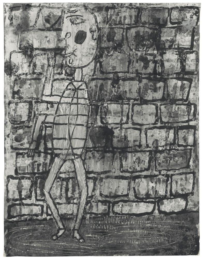 Jean Dubuffet (1901-1985), Danseur au mur, March 1945. 32.5 x 25 cm. Estimate €180,000-250,000. This lot is offered in Paris Avant-Garde  on 19 October 2017  at Christie's in Paris