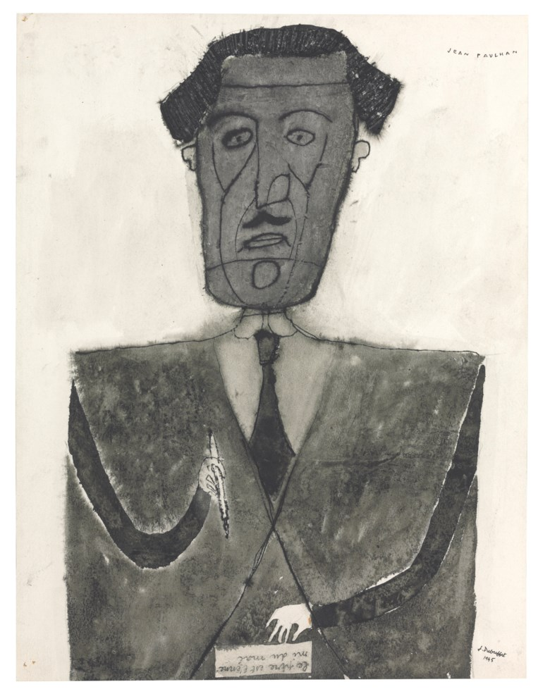 Jean Dubuffet (1901-1985), Portrait de Jean Paulhan, July 1945. 38 x 29.2 cm. Estimate €200,000-300,000. This lot is offered in Paris Avant-Garde  on 19 October 2017  at Christie's in Paris